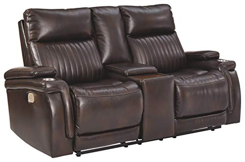 Signature Design by Ashley - Team Time Casual Faux Leather Power Reclining Loveseat - Console - Adjustable Headrest - Dark Brown -  Ashley Furniture Industries, 7830418