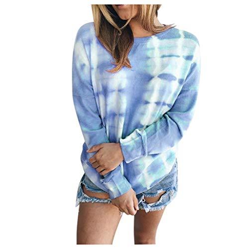 carol -1 Damen Sweatshirt Pullover Casual Langarmshirt Hoodie Rundhals Pullis Oversize Streifen Shirt Oberteil Tops, langärmelig, Batik-Optik, Rundhalsausschnitt, lockere Bluse