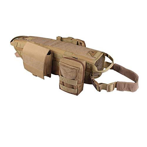 DaiHan Arnés Táctico para Perros Sistema Molle Chaleco Ajustable,Camouflage Exterior Arnés para Entrenamiento Al Aire Libre con 3 Bolsas Desmontables Ning L