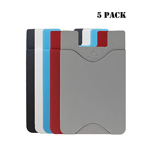 oPesea Phone Card Holder Cell Phone Pocket iPhone Wallet Adhesive Credit Card Sleeve Stick-on Wallet on The Back of Phone/Case of iPhone,Samsung,LG,BLU,Piexl,Moto,Huawei(Slim 5PCS)