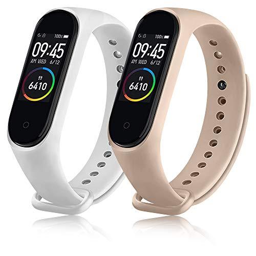 ZGCE 2 Stück Armband Kompatibel mit Xiaomi Mi Band 3/4 Armband, Bunt Silikon Wasserdicht Ersatzbandfür Xiaomi Mi Smart Band 4, Damen Herren (Weiß+Pink)
