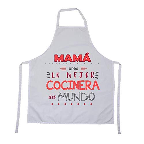 Kembilove Delantal cocina hombre – Delantales de cocina para familiares con mensajes originales – Mamá Eres la Mejor cocinera del mundo – Delantal para mujer – Regalos personalizados