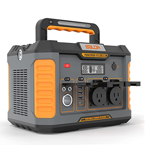 BALDR Portable Power Station Pioneer 500W, 461Wh Solar Generator Power Backup Lithium Battery with Pure Sine Wave Inverter for Camping, Road Trips, Emergency Power Supply