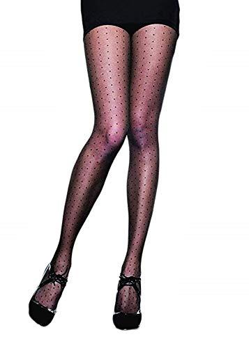 Medias de mujer sexy - negro - medias de lunares - simple - transparente - elástico - talla única - color negro - idea de regalo de cumpleaños