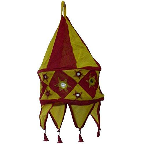 Indischer Lampenschirm bordeaux - gelb 48cm Baumwolle Dekolampe Orient Hängelampe