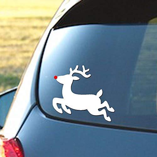 myrockshirt Rudolph The Red Nose Renna con naso rosso, ca. 18 cm, adesivo per auto, qualità professionale, resistente ai raggi UV