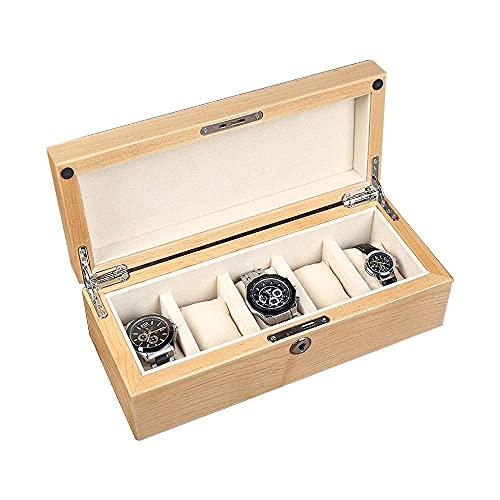 JIANGCJ Bella 5-Slot Wristwatch Caja colector Wood Watch Box Organizer Pantalla Embalaje Unisex