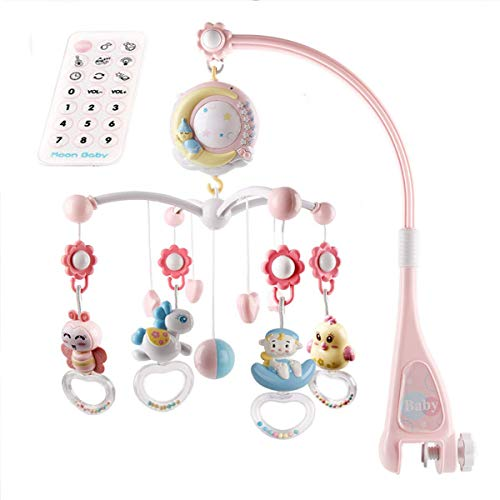 Baby Mobile für Kinderbett Krippe mit Nachlicht, Musik, Projektor und Fernbedienung (Pink)