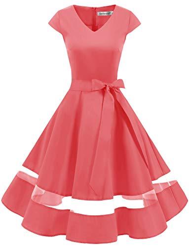 Gardenwed 1950er Vintage Retro Rockabilly Kleider Petticoat Faltenrock Cocktail Festliche Kleider Cap Sleeves Abendkleid Hochzeitkleid Coral S