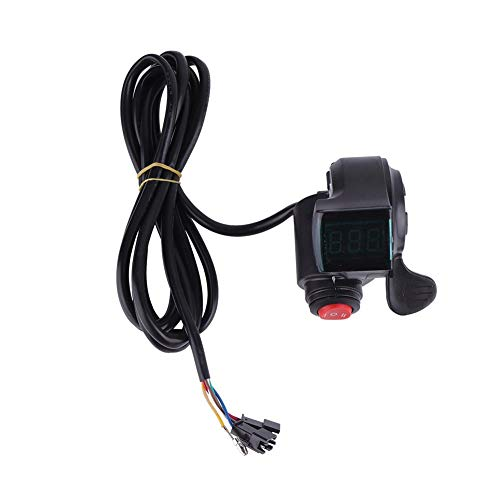 VGEBY Ebike Gashebel, Daumengas Gaspedal Fahrradgeschwindigkeits Lenker mit LCD Spannung Leistungsanzeige, 3 Gang Schalter