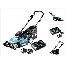 Makita DLM382PM2 Tondeuse 36 V => 2 x 18 V Li-ION (2 Batteries 4Ah) + Chargeur Double DC18RD