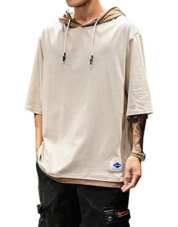 eb2e0a1b02c6e Aliux Tシャツ メンズ 七分袖 半袖 ゆったり パーカー 無地 カットソー ティーシャツ おしゃれ カジュアル