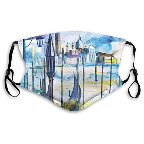 Winddichte Maske, eine Ansicht mit Boot in Venedig Italien Wahrzeichen Seestück szenische Aquarellfarbe