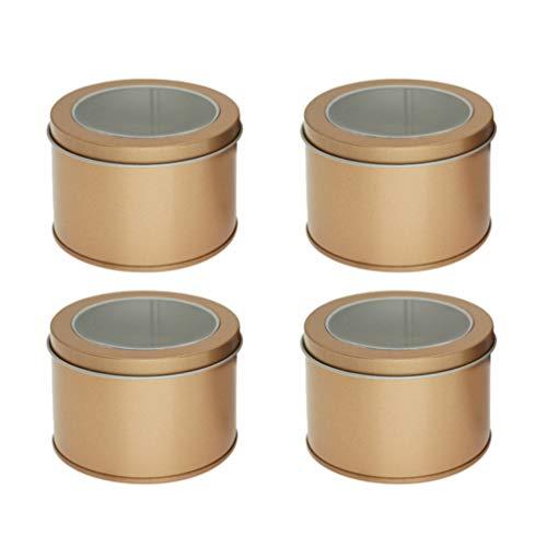 Hemoton Scatole di Metallo Rotonde da 4 Pezzi con Coperchi Lattine di Candele Contenitori di Latta Vuoti Contenitori di Caramelle Regalo Sciolto tè Or
