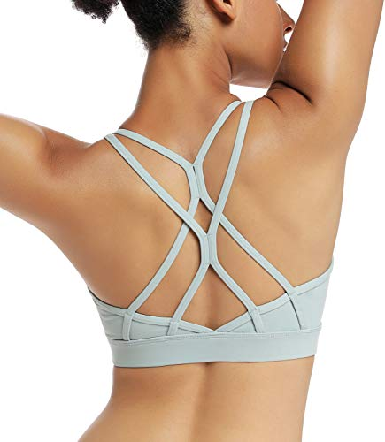 RUNNING GIRL Strappy Sports Bra for Women Sexy Crisscross Back Light Support Yoga Bra with Removable Cups(WX2310.Green.L)