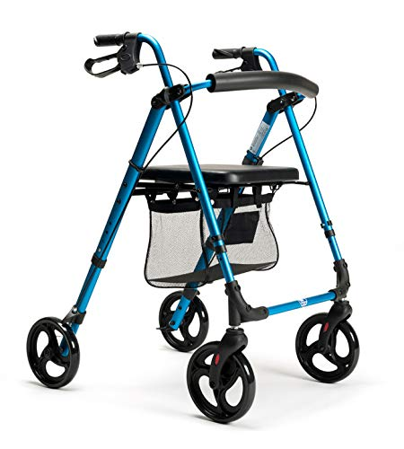 FabaCare Rollator ECO-Plus, Leichtgewichtrollator, Sitzhöhe verstellbar, mit Vollausstattung, Farbe Blau