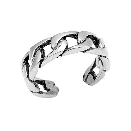 AeraVida Strong Bonded Celtic Curb Chain Link .925 Sterling Silver Toe Ring or Pinky Ring