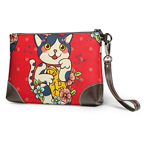 Flamagy Soft Waterproof Leather Wristlet Purse Cat Amulet Tattoo Leather Purse Clutch With Zipper For Women Girls