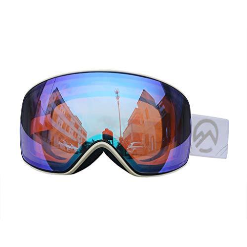 Gafas de Snowboard - Lente hiperbólica, Fotocrómico Gafas de protección contra la Nieve a Prueba de Viento Resistente al Impacto Gafas de Snowboard OTG Snow para Hombre y Mujer White Frame