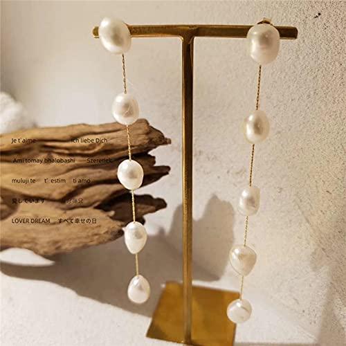SALAN Pendientes De Perlas De Agua Dulce Naturales De Hilo Largo, Pendientes De Borlas De Perlas con Cuentas para Mujer, Joyería Minimalista Elegante