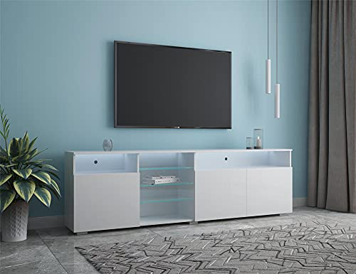 """90"""" Modern TV Stand, TV Consoles, Central Entertainment Center, High Gloss Fronts,16 Color LED Lights System with Remote ON/Off and Color Control.-White"""