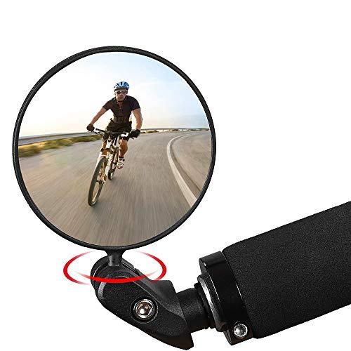 Espejo Retrovisor Bicicleta 1 Pieza Espejo Retrovisor para Bicicleta Rotación de 360 Grados Ajustable con Espejo Convexo para Diámetro Interior Manillar 17,4-22 mm Bicicleta de Carretera Montaña