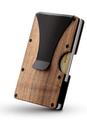 Alltagslösung Kreditkartenetui Herren mit RFID Blocker [Echtholz] Geldklammer | Kartenetui Karten Portemonnaie | Slim Wallet - Jetzt Bilder ansehen
