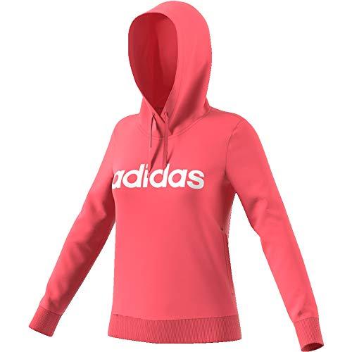 adidas Performance Essentials Linear Kapuzenpullover Damen pink/weiß, M
