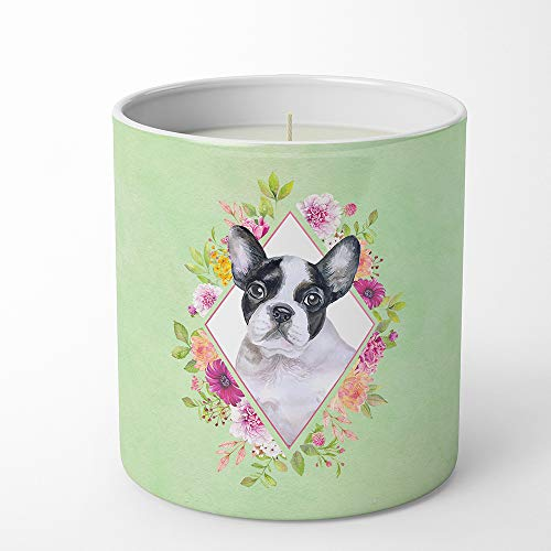 Caroline's Treasures French Bulldog Green Flowers 10 oz Decorative Soy jar-Candles, Multicolor