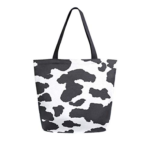 Bolso de mano con asa superior, piel de vaca, estampado de leopardo de animales salvajes, bolsa de lona lavada para mujeres y niñas