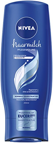 Nivea Haarmilch Pflegespülung für normale Haarstruktur im 1er Pack (1 x 200 ml), Conditioner zur Regeneration pflegt die Haare ohne Mineralöle, bessere Kämmbarkeit durch cremige Spülung
