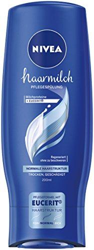 Nivea Haarmilch Pflegespülung für normale Haarstruktur im 4er Pack (4 x 200 ml), Conditioner zur Regeneration pflegt die Haare ohne Mineralöle, bessere Kämmbarkeit durch cremige Spülung