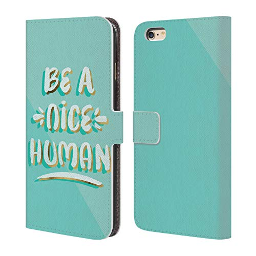 Head Case Designs Oficial Cat Coquillette Sé un Buen Humano Cotizaciones Tipografía 7 Carcasa de Cuero Tipo Libro Compatible con Apple iPhone 6 Plus/iPhone 6s Plus
