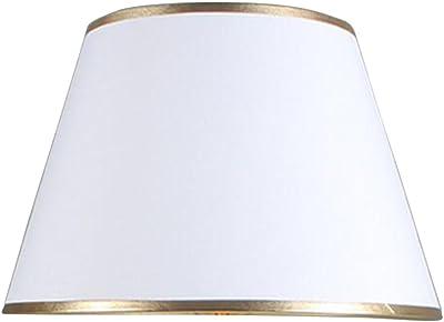 DULEE 6 E27/E14 Screw Tela Pantalla de Lámpara de Pie Mesa y Lámpara de Noche,(Top) 12cm x (Altura) 15cm x (Fondo) 16cm,Blanco con Borde Dorado: Amazon.es: Iluminación