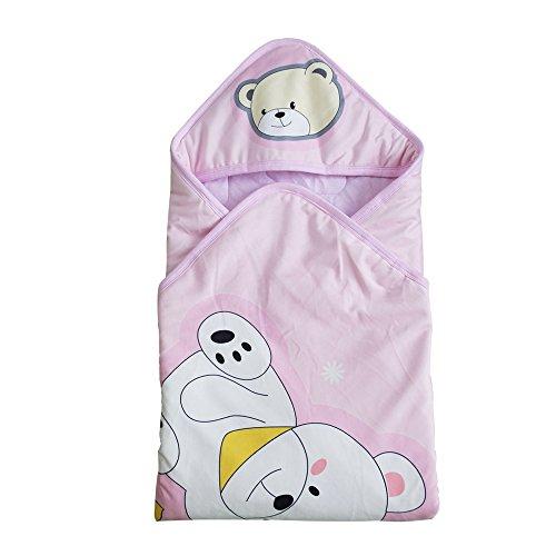 Missley Thicken Baby Hold nouveau-né bébé tricot de coton velours sac de couchage néonatale Pack (Bear-Pink)