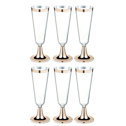 Tenbroman Copas de Vino de plástico Multiusos Copas de champán Desechables Copas Copa de cóctel para Suministros de Fiesta de Boda Bar Copa de Bebida 150ml 6 Piezas (Gold)