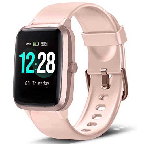"""Lintelek Smart Watch with 1.3"""" LCD Full Touch Screen, Large Screen Fitness Tracker with Heart Rate Monitor, Pedometer, Sleep Tracker, Waterproof Activity Tracker for Men, Women and Gift (Pink)"""