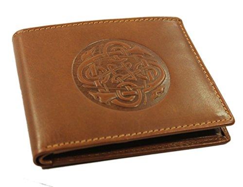 Biddy Murphy Irish Leather Wallet Brown Celtic Wolf Hound Design Made in Ireland