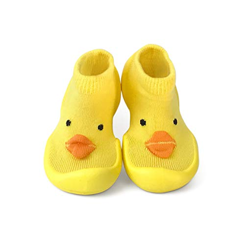 Step Ons: Half Sock and Half Shoe for Crawling Cruising and Walking! (12-18 Months, Yellow Chick) UK Size 4