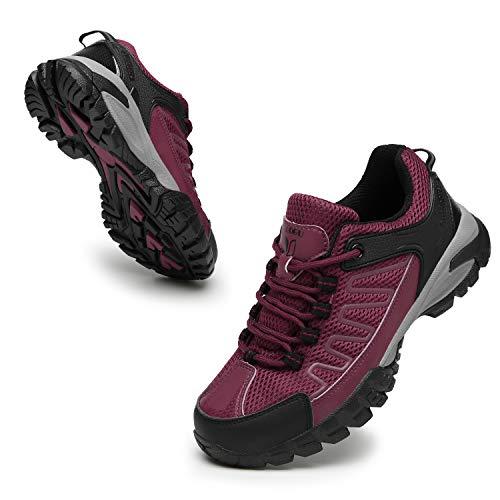 FOGOIN Wanderschuhe Herren Damen Leicht Low Trekkingschuhe rutschfest Atmungsaktiv Outdoor Walking Schuhe Sportlich Trekking-& Wanderhalbschuhe, Rose, Gr.39