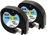 Yellow Yeti 2 Casetes de Cinta 91201 91221 S0721610 negro sobre blanco, plástico, 12mm x 4m compatibles para Impresoras de Etiquetas DYMO LetraTag LT-100H LT-100T LT-110T QX50 XR XM 2000 Plus