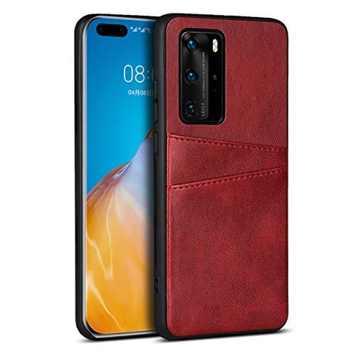 Schutzhülle aus PU-Leder für Huawei P40 Pro, Rot