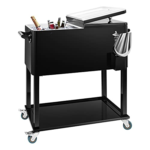 EDOSTORY 80 Quart Rolling Ice Chest Cooler Cart,Patio Backyard Party Drink Beverage Bar Stand Up Cooler Trolley with Ice Scoop