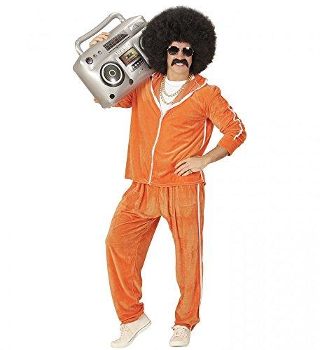 shoperama 80er Jahre Herren Trainingsanzug in Frottee-Optik Orange Kostüm Trash Bad Taste Achtziger, Größe:M