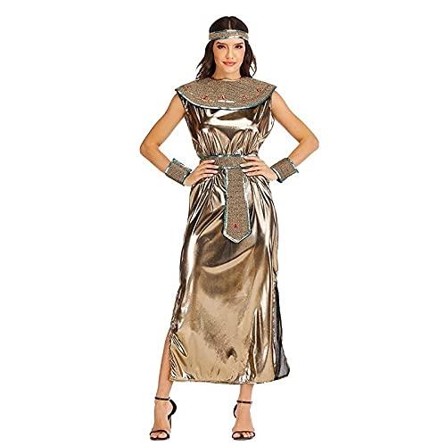 WXFASHION Disfraz de Halloween para Mujeres - Diosa Sexy Atractiva Egipto Cleopatra Vestido Egipto Reina Cosplay Club Fiesta de Fiesta (Color, Size : L)