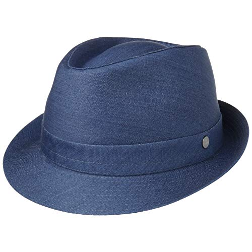 Lierys Payato Jeans Denim Trilby Damen/Herren - Hut aus 100% Baumwolle - Stoffhut Fedora in M-XL - Baumwollhut mit Innenfutter Denim L (58-59 cm)