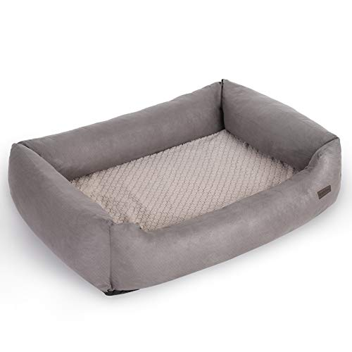 FEANDREA Dog Bed for Big Dogs, Orthopaedic Dog Sofa, Washable, Grey PGW15GV1