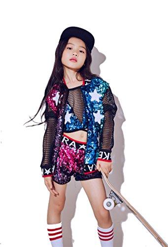 moyuqi New Kinder Mädchen Kostüme Jazz Dance Hip-Hop Modern Dance Kostüme Baseball Kleidung Pailletten Dancewear, 150 cm