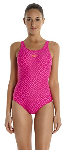 Speedo Damen Badeanzug Monogram Muscleback mit Allover-Print, magenta/fluo pink/fluo orange, 32, 8-09247A57928