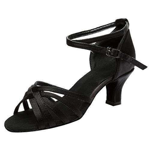 HEETEY Damen Sandalen Frauen einfarbig Mode Rumba Walzer Prom Ballsaal Latin Salsa Dance Schuhe Sandalen Lateinische Tanzschuhe mit hohem Absatz und Riemenschnalle